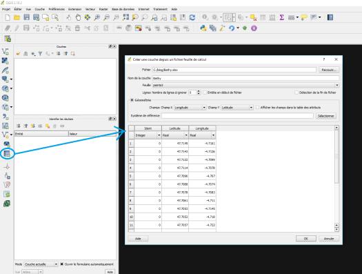 chargement d'une table Excel avec spreadsheet layers dans qgis