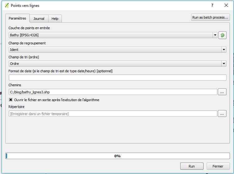 paramétrage du traitementy points vers lignes de qgis