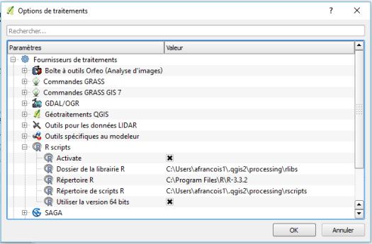 configuration du fournisseur de traitement R dans qgis