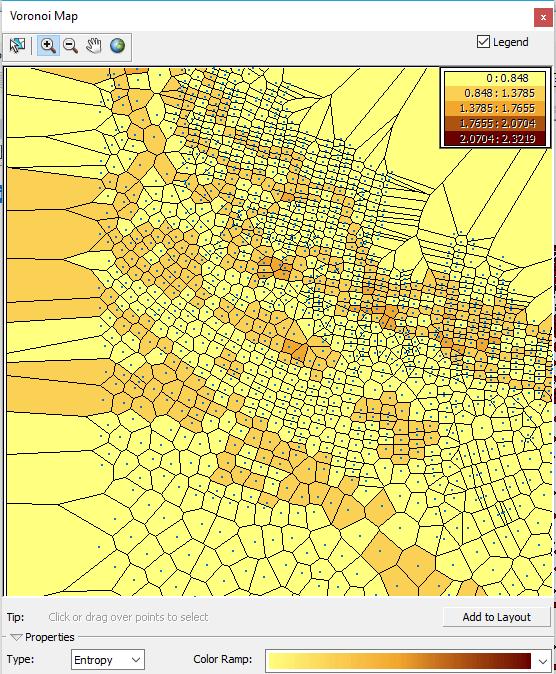 carte des polygones de voronoï de l'entropie