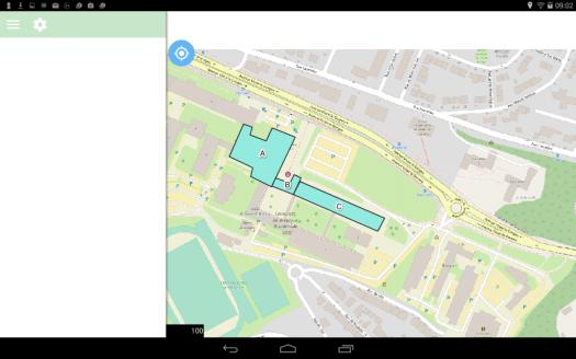 paneau d'options de qfield  sur le dispositif mobile android