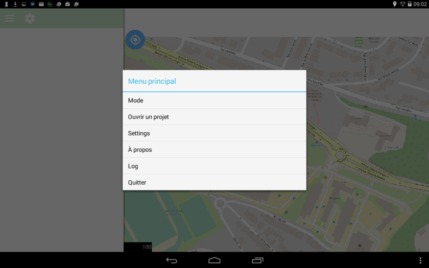options de qfield  sur le dispositif mobile android