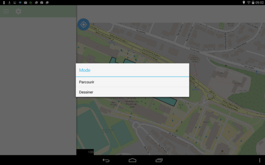 modes de travail de qfield  sur le dispositif mobile android