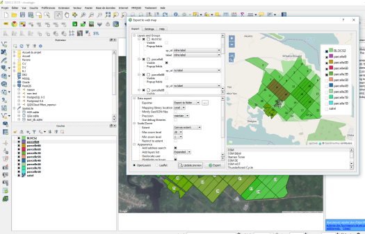 interface du plugin qgis2web de qgis