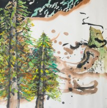 "SOLD: 优山美地 Yosemite, 2015. watercolor and sumi ink on xuan paper, 28""x 28""."