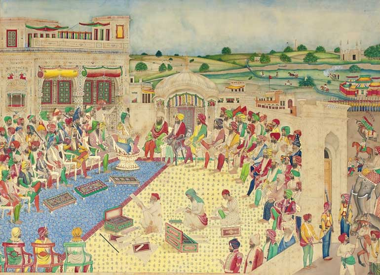 The Court of Maharaja Ranjit Singh, Bisham Singh Lahore, c.1850 — Opaque watercolor on paper — Toor Collection (photo: sikhfoundation.org)