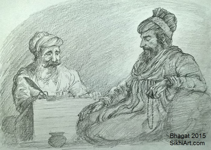 Guru Arjan Dev, Guru Arjun, Guru Arjun Dev, Bhai Gurdas, Bhai Gur Das, Adi Granth, Guru Granth Sahib, Sikh Gurus, Sikhi, Art, Punjab, Drawings, Sketches Bhagat Singh Bedi