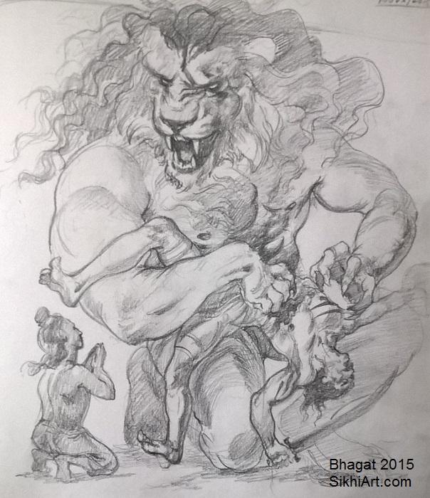Narasimha, Narsingh, Hiranyakashipu, Prahalada, man-lion god, Hindu Gods, Sikhi, Art, Punjab, Drawings, Sketches Bhagat Singh Bedi