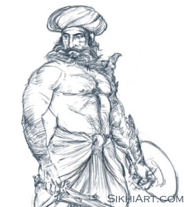 Indian Warrior, drawing, sketching, drawing tutorial, sword, shield, turban, muscular