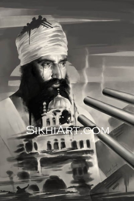 Sant Jarnail Singh ji Bhindranwale, Operation Blue Star, Indian Army Tanks, Akal Takhat, Painting, Punjab, Art, Sikh, Sikh Warriors, Bhagat Singh Bedi, Sikhi Art