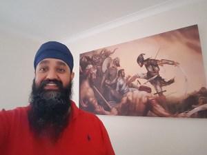 Battle of Chamkaur - Sahibzada Ajit Singh ji Sikh Warrior Art by Bhagat Singh - Photo of Dal Singh with his Canvas Print