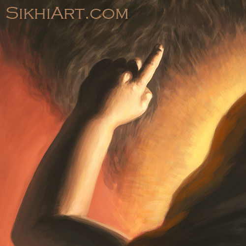 Pita Kalu ji Holding Baby Nanak, Holding up Advait, Non-dual Oneness as the ideal, Mehta Kalu ji, Guru Nanak Dev ji, Bhagat Singh, Sikhi Art
