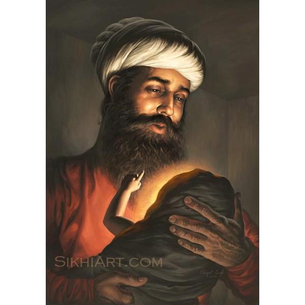 Pita Kalu ji Holding Baby Nanak, Mehta Kalu ji, Guru Nanak Dev ji,Bhagat Singh, Sikhi Art