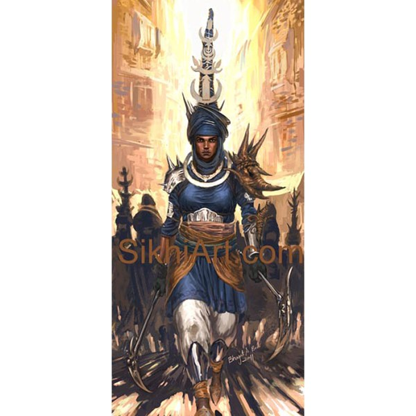 Akali Warrior Monk, Nihang, Warrior, Sikh Awarrior, Turban, Dastaar Boonga, Khalsa, Sikh Art