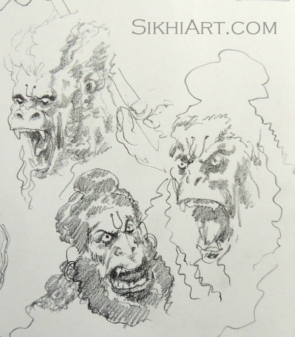 Furious Hanuman ji, Monkey God, Warrior, Hindu Gods, Sikhi, Art, Punjab, Drawings, Sketches, Bhagat Singh Bedi