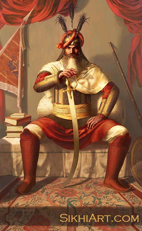 Hari Singh Nalwa, General of Sikh Army,Jamrud, Afghans, Peshawar, Maharaja Ranjit Singh, Ingres, Napoleon, Anglo Sikh Wars, Painting, Sikhi, Art, Punjab, Sikh Warriors, Bhagat Singh Bedi