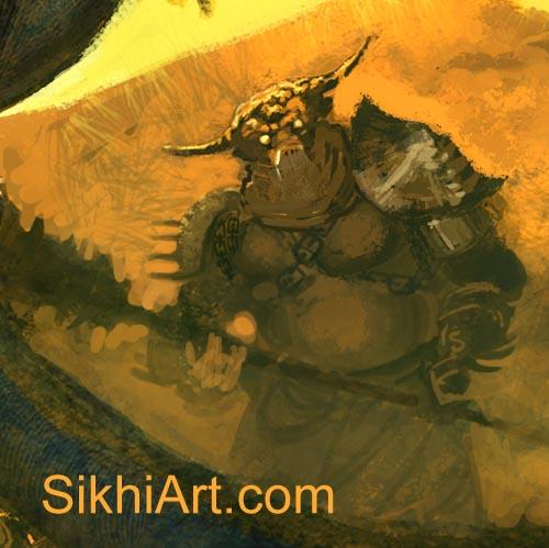 ,Metal Mouth Demon, Snake Charmer Fights the Demons, Akali, Nihang, Warrior, Sikh Awarrior, Turban, Dastaar Boonga, Khalsa, Sikh Art