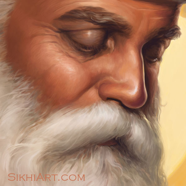 Adi Guru - Guru Nanak Dev ji Face Eyes Nose Beard Bright Yellow Sun Close-up Portrait Painting Meditation Dhyan Sikh Art Punjab Painting by Bhagat Singh Bedi
