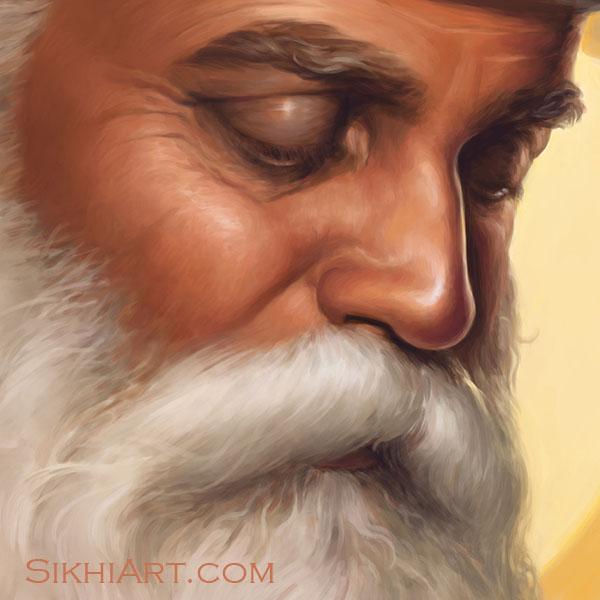 Adi Guru - Guru Nanak Dev ji Face Eyes Nose Beard Bright Yellow Sun Close-up Portrait Painting Meditation Dhyan Sikh Art Punjab Painting by Bhagat Singh Bedi, artist punjab