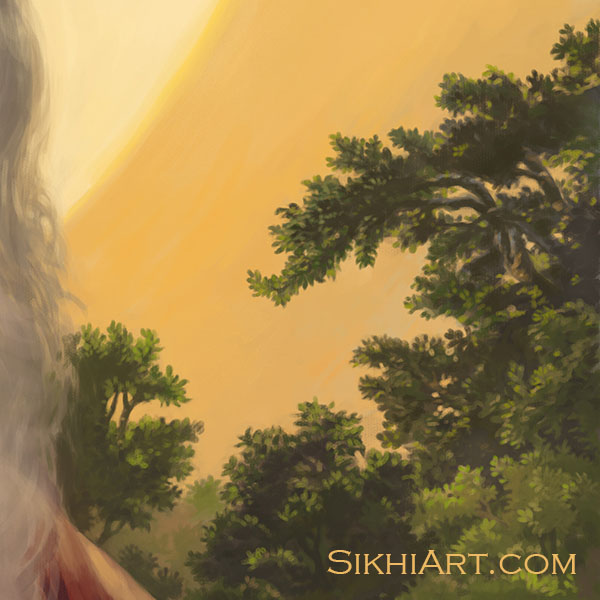 Adi Guru - Guru Nanak Dev ji Trees Forest Sun Close-up Portrait Painting Meditation Dhyan Sikh Art Punjab Painting by Bhagat Singh Bedi