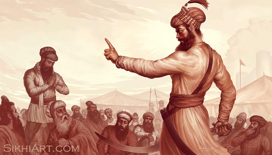 Guru Gobind Singh ji, Vaisakhi, 1699, Khalsa, Anandpur Sahib, Punjab Painting, Sikh Artist Bhagat Singh, Sikhi Art, Art of Sikhism, Art and Culture of Punjab, Rise of Khalsa