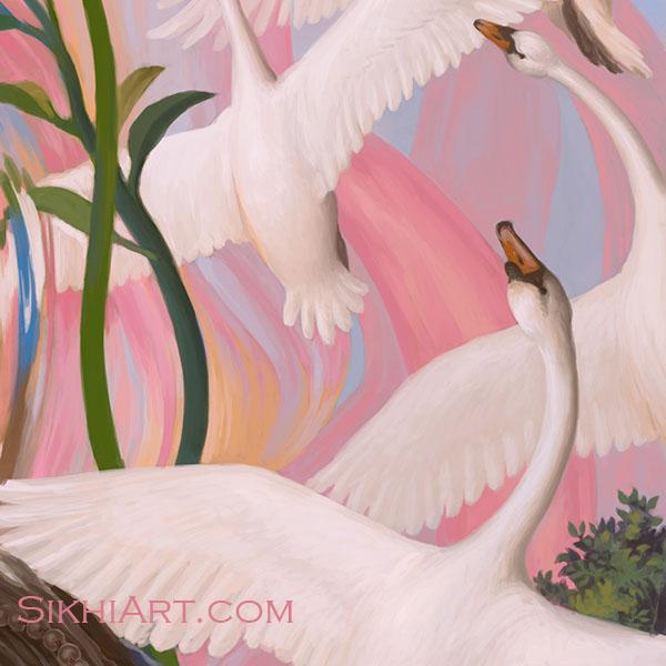 Guru Arjun Dev ji, Spiritual Blossoming, Guru Arjan Dev ji, Sikh Painting, Art and History of Punjab, Bhagat Singh, Sikhi Art, Peacock, Swan, Mute Swan, Lotus Petals, Roots, Garden, Beautiful Sikh Art