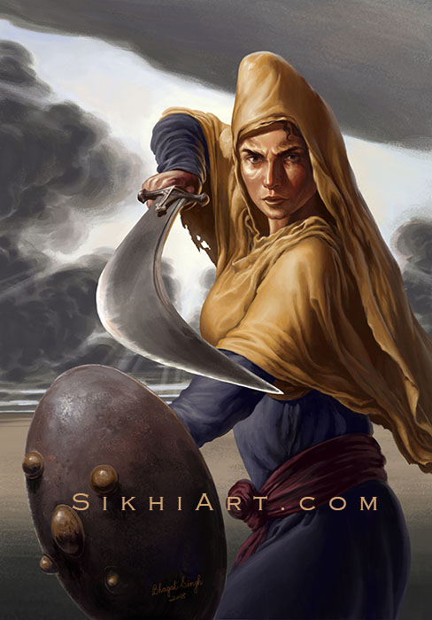 Featured Post Mai Bhago ji, Warrior Women, Sikh Warrior, Sikh Art, Paintings of Punjab, Bhagat Singh Bedi - Sikhi Art
