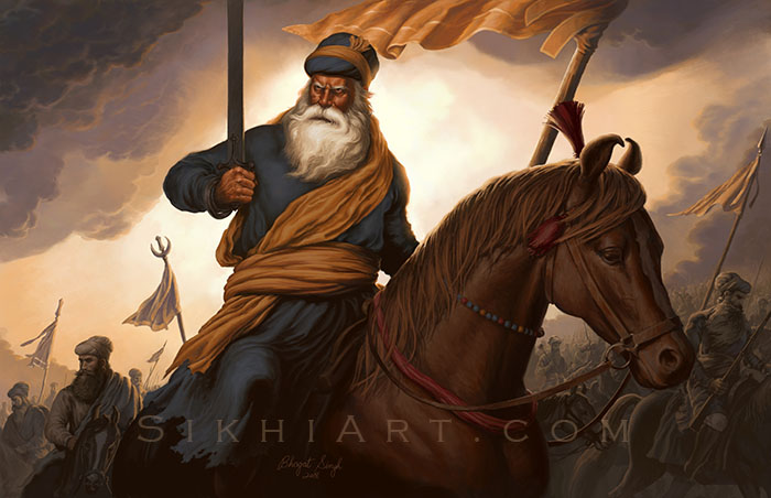 Baba Deep Singh ji on Horse, Riding to Battle by Bhagat Singh Bedi- Sikhi Art, Portrait Painting, Sikh Art Punjab Painting, Sikh store, Sikh Art Prints Shop, Heritage of Punjab, Traditions of Sikhism, Sikh Canvas Prints
