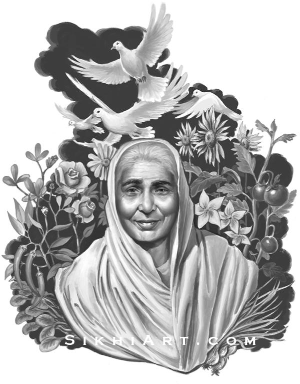 Bibi ji Portrait by Sikh Artist Bhagat Singh Bedi, Culture of Punjab