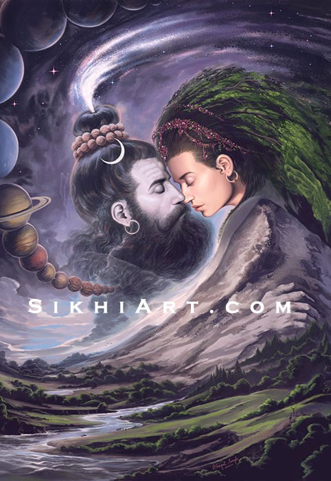 Shiva and Shakti, the Spiritual and Material Forces of the Universe, in embrace. Hindu Art, Sikh Philosophy, Shaivism, Painting by Artist Bhagat Singh Bedi