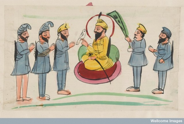 L0041032 A wealthy Sikh seated and surrounded by attendants Credit: Wellcome Library, London. Wellcome Images images@wellcome.ac.uk http://wellcomeimages.org A wealthy Sikh seated and surrounded by attendants Watercolour 19th century Published: - Copyrighted work available under Creative Commons Attribution only licence CC BY 4.0 http://creativecommons.org/licenses/by/4.0/