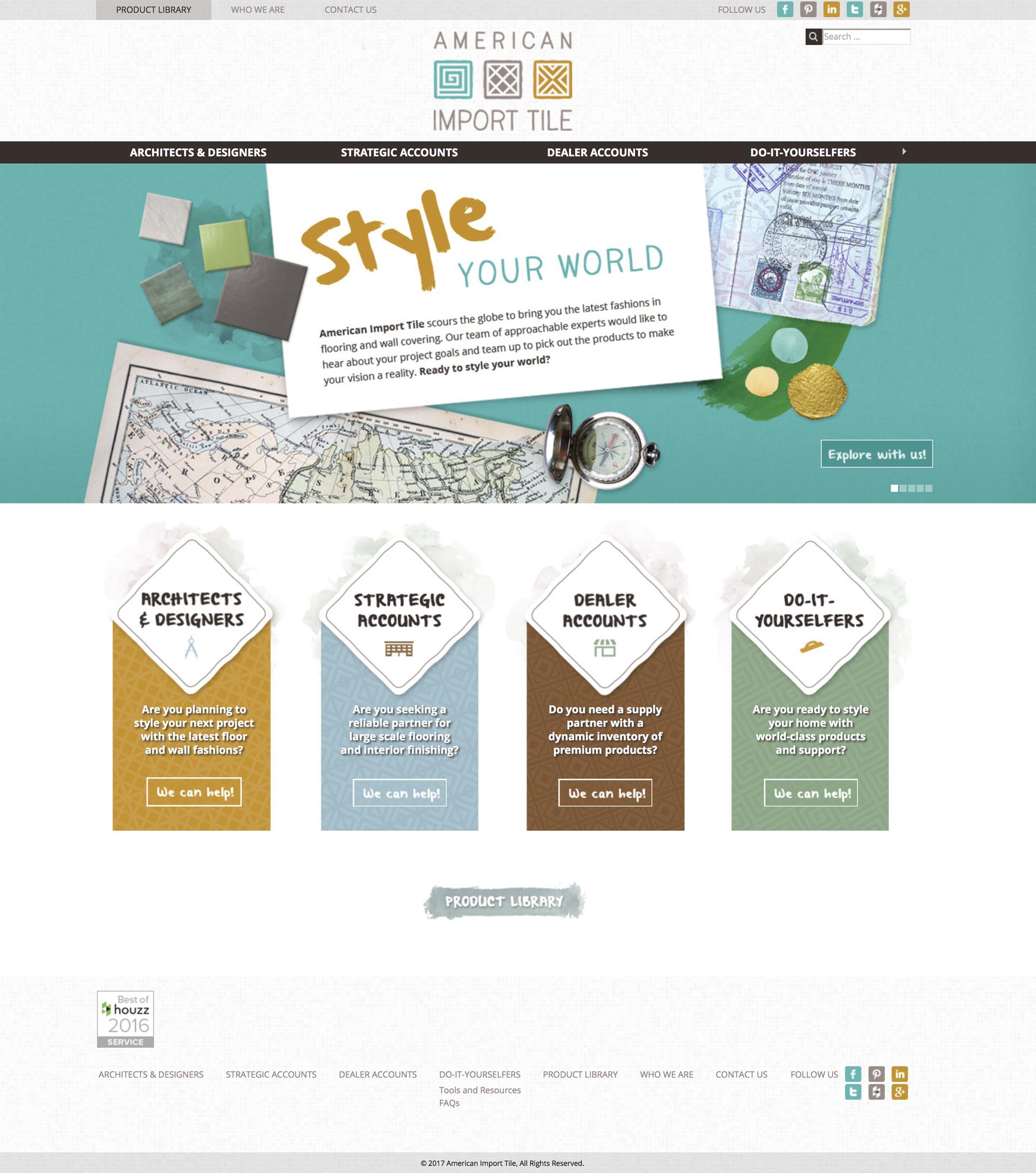 american import tile website design