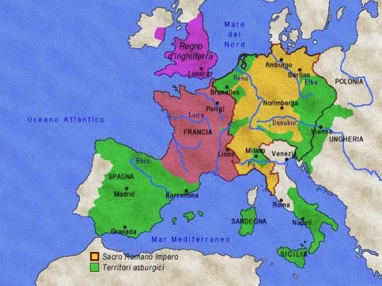 mappa dell'Impero di Carlo V