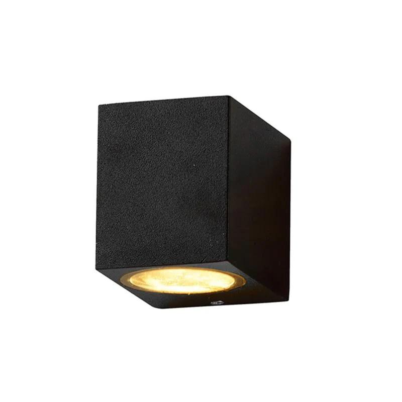 applique murale noire led rectangulaire ip44 pour ampoules gu10