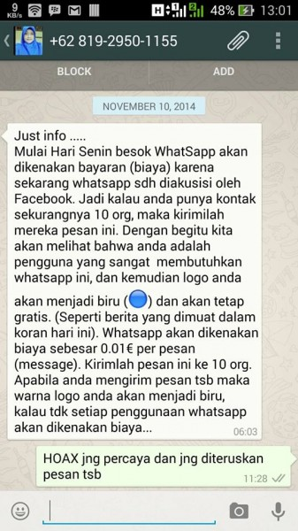 WhatsApp HOAX