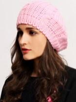 Béret tricoté décontracté -rose
