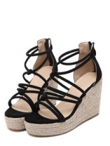 Black Open Toe High Platform Strappy Wedge Sandals