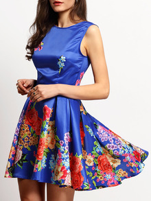 Blue Sleeveless Backless Floral Flare Dress