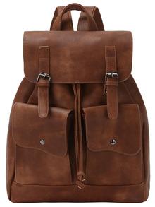 Brown Drawstring Belt Buckle PU Backpack