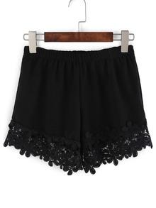 Crochet Trimmed Elastic Waist Shorts