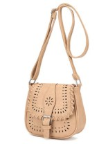 Laser-Cut Buckle Strap Saddle Bag - Beige