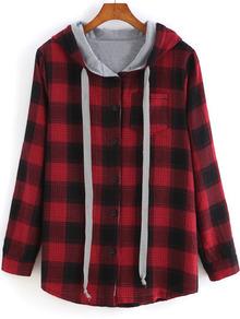 Red Hooded Long Sleeve Plaid Pocket Sweatshirt