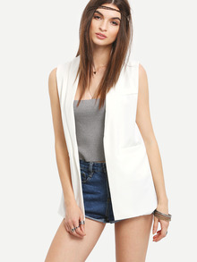 Three Pocket Front Sleeveless Blazer - White