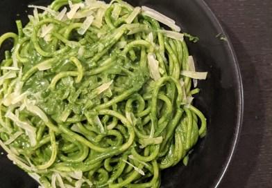 Spaghettis à la crème d'épinards