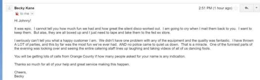 Silent Disco testimonial review