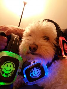 Silent Disco Headphones have their own volume control and change color depending on which channel you listen to.