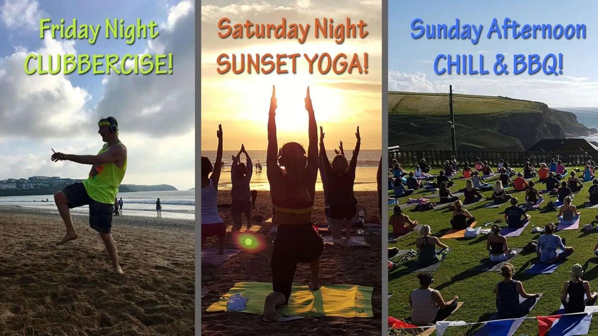Silent Disco Yoga August Bank holiday 2018 Newquay Cornwall