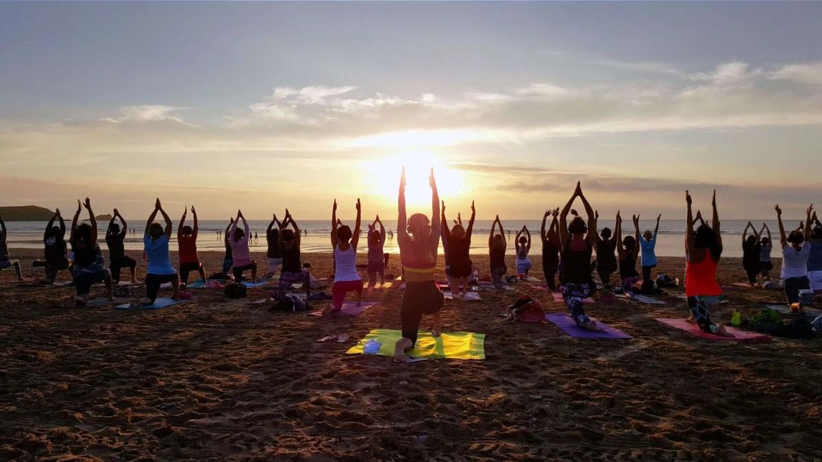 socially disctanced covid safe silent disco yoga