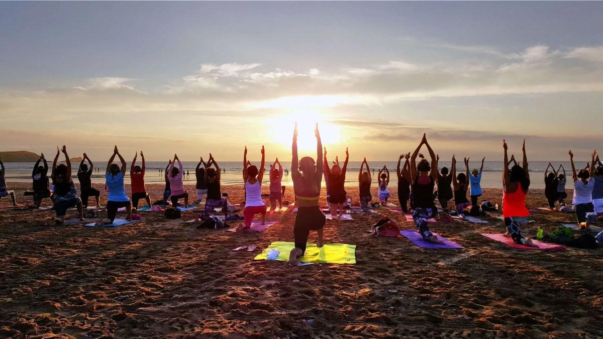 covid safe socially distanced silent disco yoga