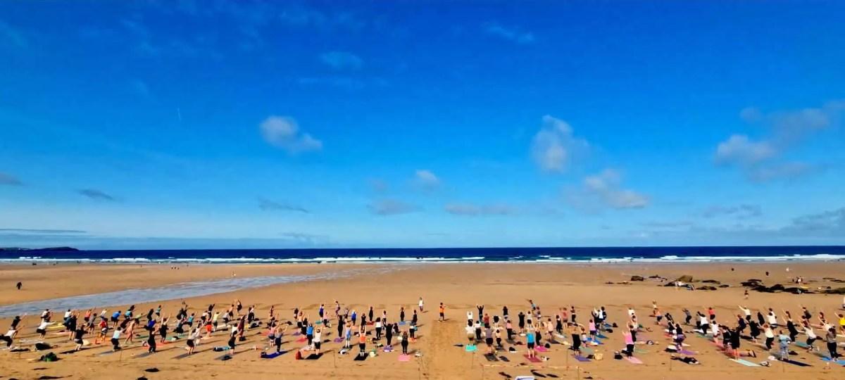 Watergate Bay Silent Disco Beach Yoga Video